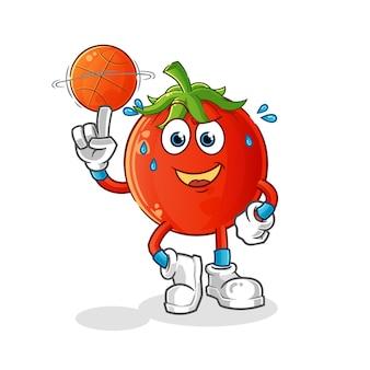 Mascote do tomate jogando basquete