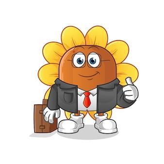 Mascote do trabalhador de escritório sun flower