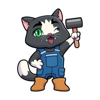 Mascote do trabalhador manual gato dos desenhos animados