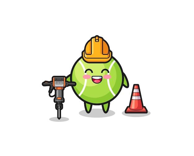 Mascote do trabalhador rodoviário de tênis segurando a furadeira, design bonito
