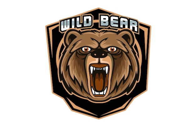 Mascote do urso irritado para logotipo de esportes e esportes eletrônicos isolado em fundo escuro