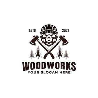 Mascote do urso lenhador com logotipo de machados