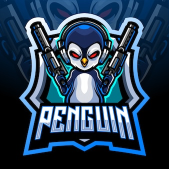 Mascote dos artilheiros de pinguim. design do logotipo esport