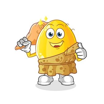 Mascote dos desenhos animados antigos do ovo dourado. mascote mascote dos desenhos animados