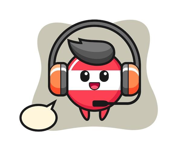 Mascote dos desenhos animados da bandeira da áustria como serviço de atendimento ao cliente