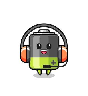 Mascote dos desenhos animados da bateria como serviço ao cliente, design de estilo fofo para camiseta, adesivo, elemento de logotipo