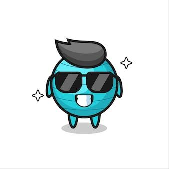 Mascote dos desenhos animados da bola de exercícios com gesto legal, design de estilo fofo para camiseta, adesivo, elemento de logotipo