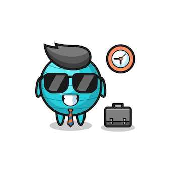 Mascote dos desenhos animados da bola de exercícios como empresário, design de estilo fofo para camiseta, adesivo, elemento de logotipo