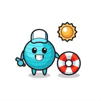 Mascote dos desenhos animados da bola de exercícios como guarda de praia, design de estilo fofo para camiseta, adesivo, elemento de logotipo