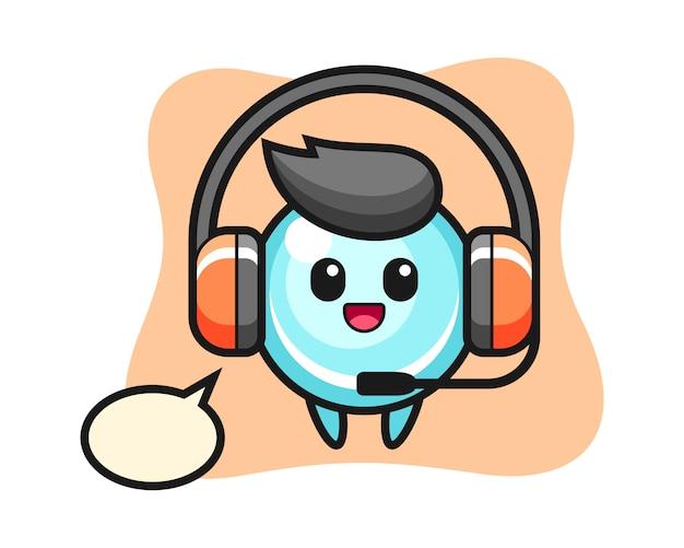Mascote dos desenhos animados da bolha como um serviço ao cliente, design de estilo bonito