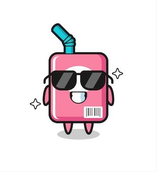 Mascote dos desenhos animados da caixa de leite com gesto legal, design de estilo fofo para camiseta, adesivo, elemento de logotipo