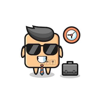 Mascote dos desenhos animados da caixa de papelão como empresário, design de estilo fofo para camiseta, adesivo, elemento de logotipo