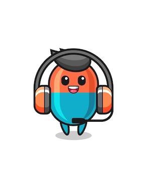 Mascote dos desenhos animados da cápsula como serviço ao cliente, design de estilo fofo para camiseta, adesivo, elemento de logotipo