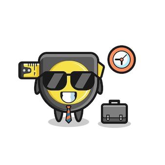 Mascote dos desenhos animados da fita métrica como empresário, design bonito