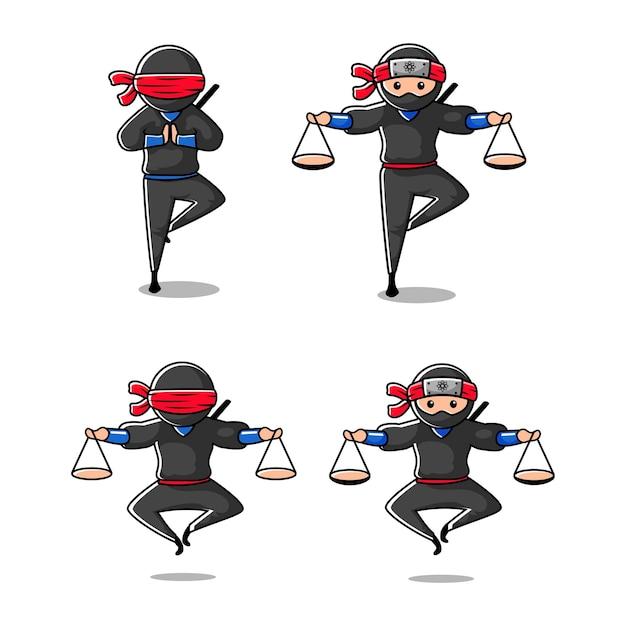 Mascote dos desenhos animados da lei ninja