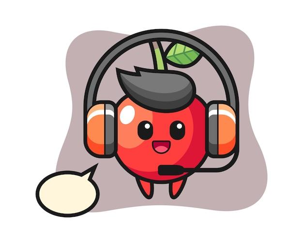 Mascote dos desenhos animados de cereja como um serviço ao cliente, design de estilo bonito