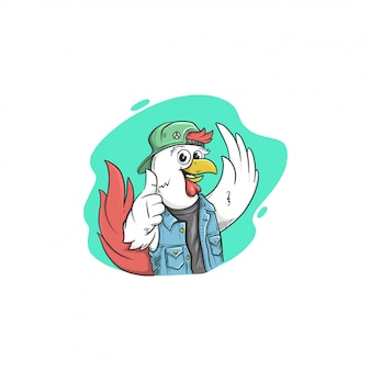 Mascote dos desenhos animados de frango