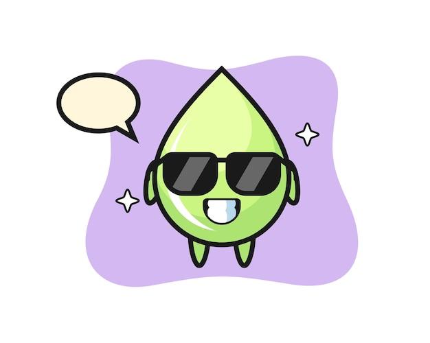 Mascote dos desenhos animados de gota de suco de melão com gesto legal, design de estilo fofo para camiseta, adesivo, elemento de logotipo