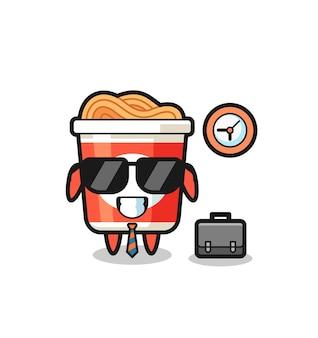 Mascote dos desenhos animados de macarrão instantâneo como empresário, design de estilo fofo para camiseta, adesivo, elemento de logotipo