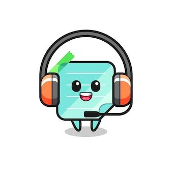 Mascote dos desenhos animados de notas adesivas como um serviço ao cliente, design de estilo fofo para camiseta, adesivo, elemento de logotipo