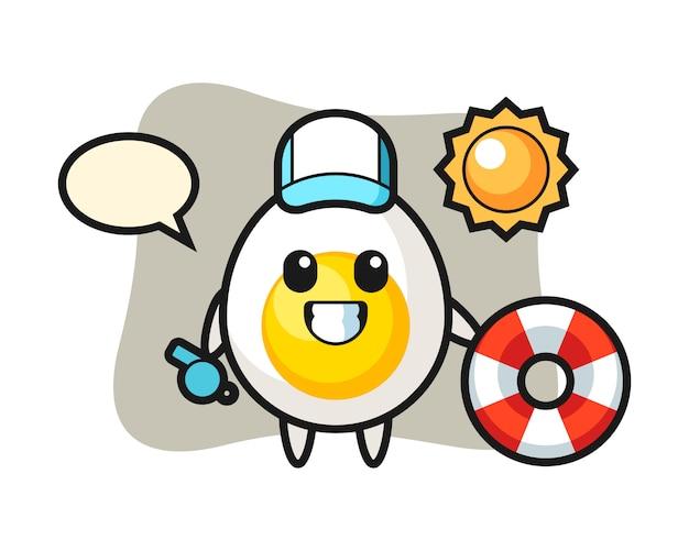 Mascote dos desenhos animados de ovo cozido como guarda de praia