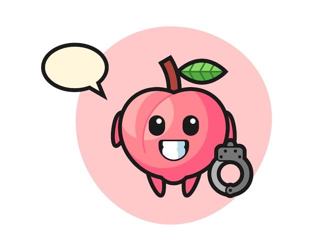 Mascote dos desenhos animados de pêssego como uma polícia, design de estilo bonito para camiseta