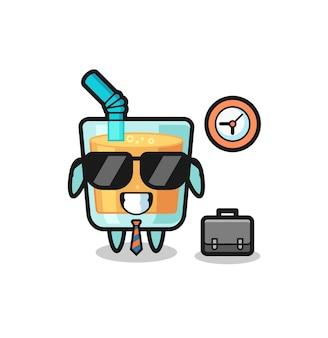 Mascote dos desenhos animados de suco de laranja como empresário, design de estilo fofo para camiseta, adesivo, elemento de logotipo