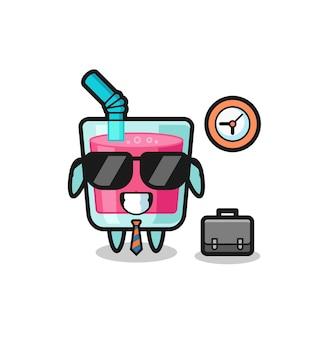 Mascote dos desenhos animados de suco de morango como empresário, design de estilo fofo para camiseta, adesivo, elemento de logotipo