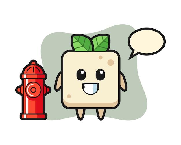 Mascote dos desenhos animados de tofu como bombeiro, design bonito estilo para camiseta