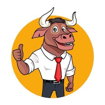 Mascote dos desenhos animados de touro de negócios amigável