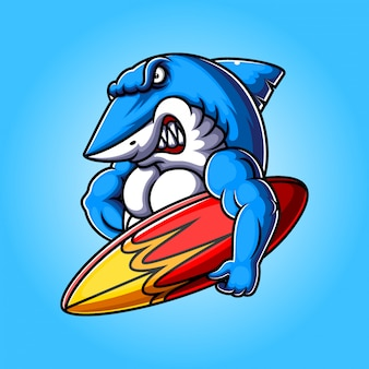 Mascote dos desenhos animados de tubarão azul