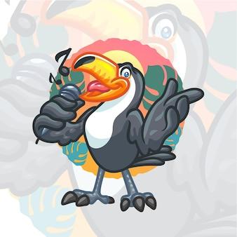 Mascote dos desenhos animados de tucano