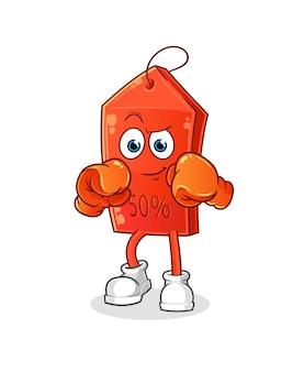 Mascote dos desenhos animados do boxer de sorvete de chocolate