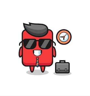 Mascote dos desenhos animados do cartão vermelho como empresário, design de estilo fofo para camiseta, adesivo, elemento de logotipo
