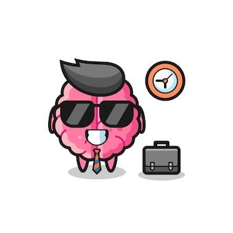 Mascote dos desenhos animados do cérebro como empresário, design de estilo fofo para camiseta, adesivo, elemento de logotipo