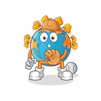 Mascote dos desenhos animados do coletor de beisebol da terra outono. mascote mascote dos desenhos animados