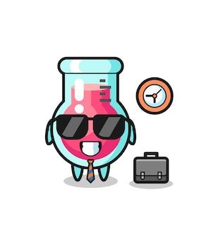 Mascote dos desenhos animados do copo de laboratório como empresário, design de estilo fofo para camiseta, adesivo, elemento de logotipo