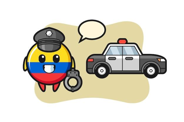 Mascote dos desenhos animados do distintivo da bandeira da colômbia como polícia, design de estilo fofo para camiseta, adesivo, elemento de logotipo