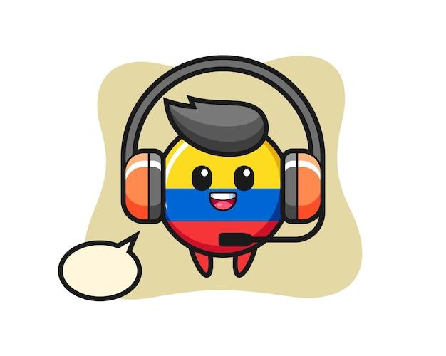 Mascote dos desenhos animados do distintivo da bandeira da colômbia como serviço ao cliente, design de estilo fofo para camiseta, adesivo, elemento de logotipo