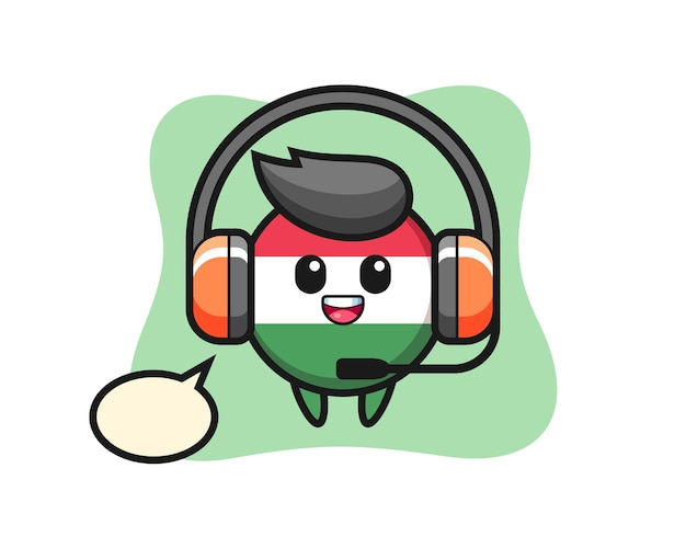 Mascote dos desenhos animados do distintivo da bandeira da hungria como serviço ao cliente, design de estilo fofo para camiseta, adesivo, elemento de logotipo