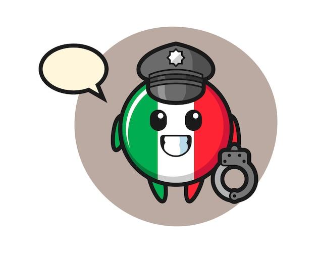 Mascote dos desenhos animados do distintivo da bandeira da itália como polícia, estilo fofo, adesivo, elemento de logotipo