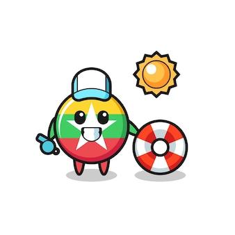 Mascote dos desenhos animados do distintivo da bandeira de myanmar como guarda de praia, design fofo