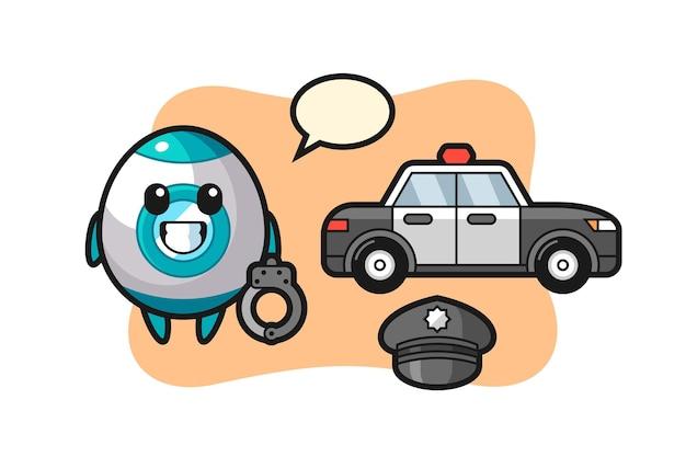Mascote dos desenhos animados do foguete como polícia, design de estilo fofo para camiseta, adesivo, elemento de logotipo