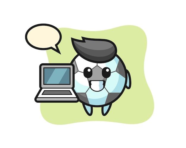 Mascote dos desenhos animados do futebol com um laptop, design de estilo fofo para camiseta, adesivo, elemento de logotipo
