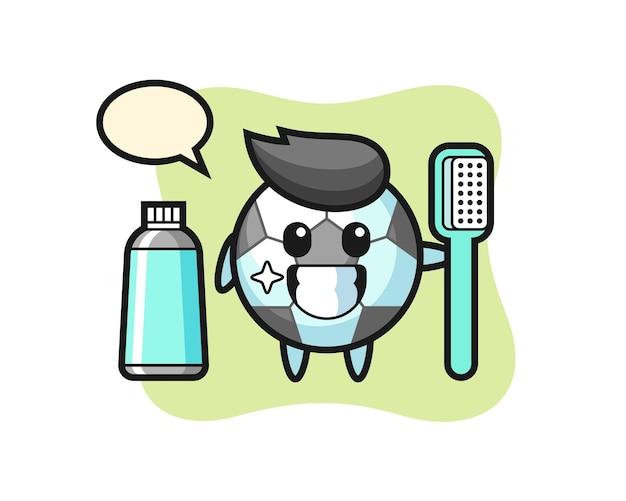 Mascote dos desenhos animados do futebol com uma escova de dentes, design de estilo fofo para camiseta, adesivo, elemento de logotipo