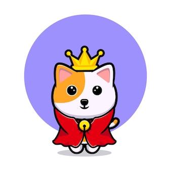 Mascote dos desenhos animados do gato fofo rei