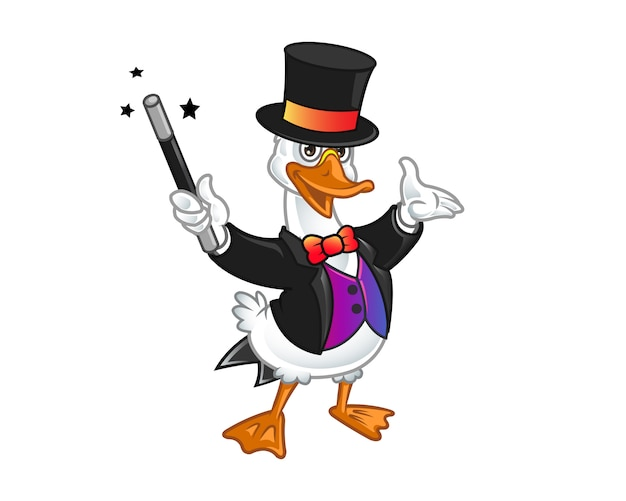 Mascote dos desenhos animados do mago bonito ganso