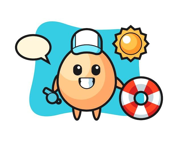 Mascote dos desenhos animados do ovo como guarda de praia, design de estilo bonito para camiseta, adesivo, elemento do logotipo
