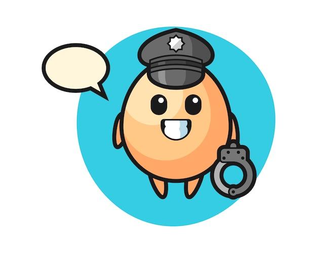 Mascote dos desenhos animados do ovo como uma polícia, design de estilo bonito para camiseta, adesivo, elemento do logotipo