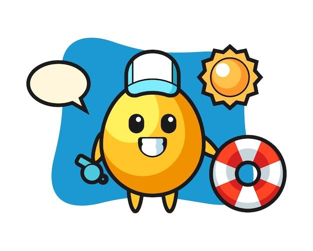 Mascote dos desenhos animados do ovo de ouro como guarda de praia, design de estilo bonito